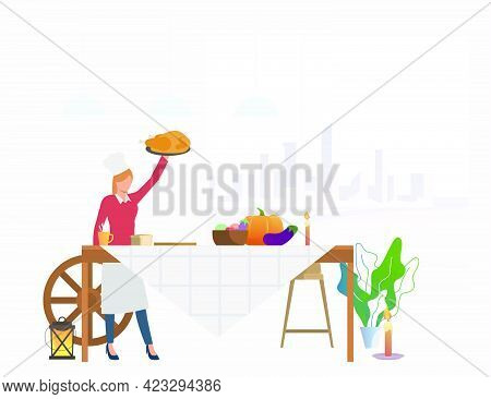 Housewife Bringing Turkey To Feast Table. Female Cook Serving Table For Thanksgiving Celebration. Ve