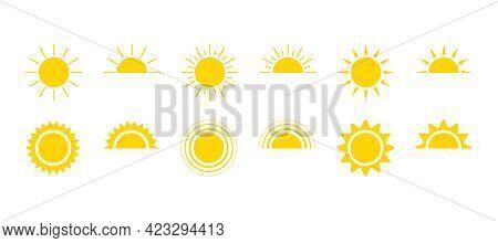 Yellow Sun Icon Set, Sunshine And Solar Glow, Sunrise Or Sunset. Decorative Circle Full And Half Sun