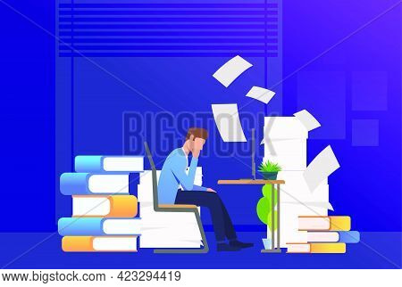 Office Man Getting Through Paper Work. Mess, Paper Piles, Employer. Unorganized Office Work Concept.