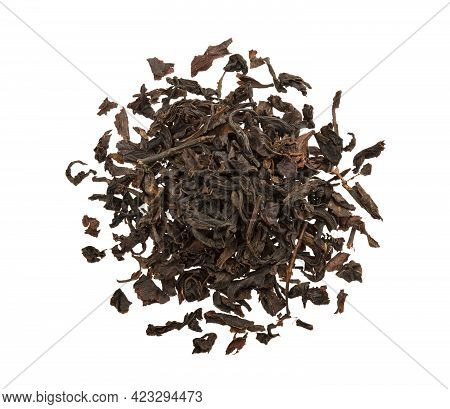 Dry Black Tea Leaves Isolated On White Background, Top View