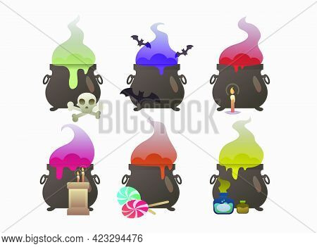Set Of Pots Cooking Brew. Holiday, Witchery, Autumn. Halloween Concept. Vector Illustration Can Be U