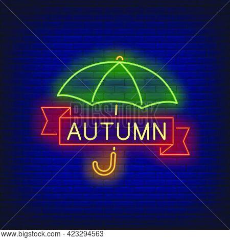 Autumn Neon Lettering With Umbrella. Shopping, Discount, Sale Design. Night Bright Neon Sign, Colorf