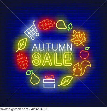 Autumn Sale Neon Lettering With Leaves, Pears, Gift, Squirrel. Shopping, Discount, Sale Design. Nigh