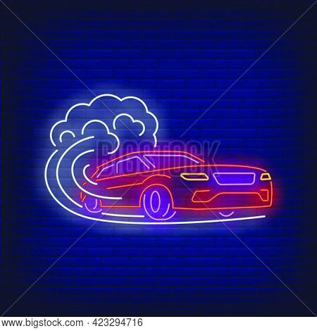 Car Increasing Speed Neon Sign. Glowing Neon Automobile. Race, Competition, Motor Car. Night Bright