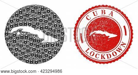 Vector Mosaic Cuba Map Of Locks And Grunge Lockdown Seal. Mosaic Geographic Cuba Map Designed As Ste
