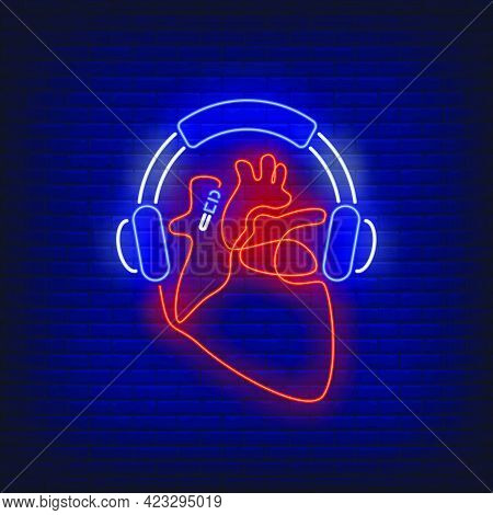 Headphones And Heart Made Of Cable Neon Sign. Music, Sound, Device Design. Night Bright Neon Sign, C