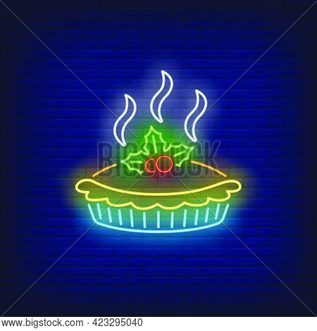 Hot Pie Neon Sign. Glowing Neon Tart. Pastry, Autumn, Thanksgiving Day. Night Bright Advertisement.