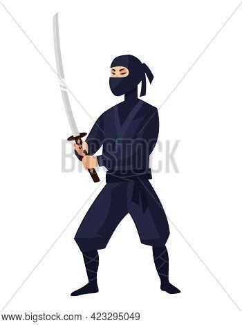 Ninja Holding Katana. Japan Character In Cartoon Style.