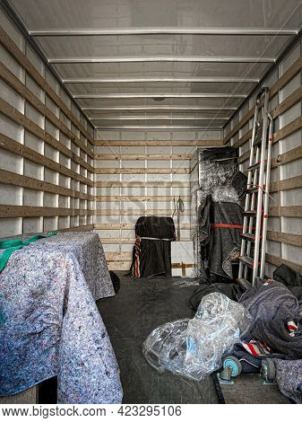 interior view of a moving truck full of items