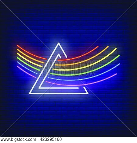 Lgbt Rainbow Going Through Prism Neon Sign. Homosexuality, Tolerance, Discrimination Design. Night B