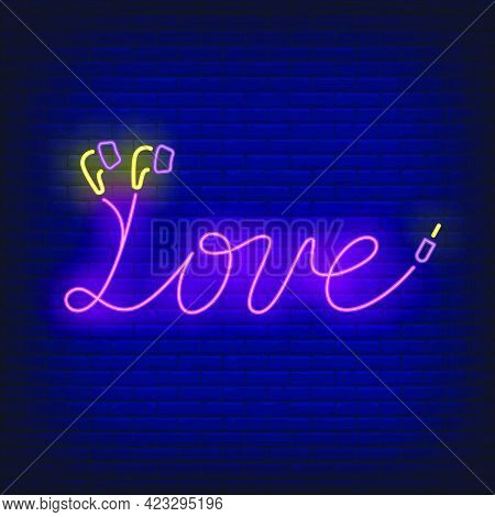 Love Neon Lettering Made Of Earphones Cable. Music, Sound, Device Design. Night Bright Neon Sign, Co