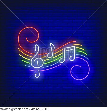 Music Notes With Lgbt Colors Neon Sign. Homosexuality, Tolerance, Discrimination Design. Night Brigh