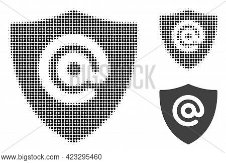 Email Address Shield Halftone Dotted Icon. Halftone Pattern Contains Circle Pixels. Vector Illustrat