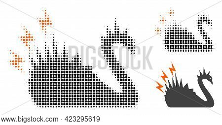 Black Danger Swan Halftone Dotted Icon. Halftone Array Contains Circle Pixels. Vector Illustration O