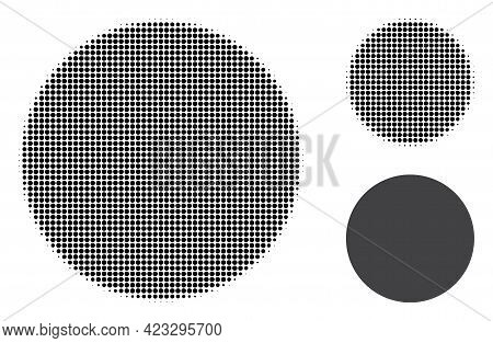 Filled Circle Halftone Dotted Icon. Halftone Array Contains Circle Points. Vector Illustration Of Fi