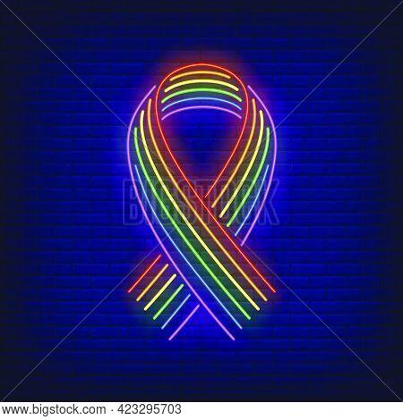 Ribbon With Lgbt Rainbow Neon Sign. Homosexuality, Tolerance, Discrimination Design. Night Bright Ne