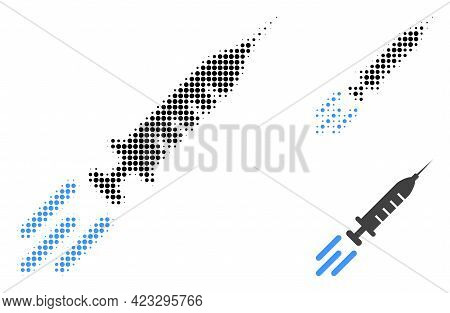 Express Vaccine Halftone Dotted Icon. Halftone Pattern Contains Circle Dots. Vector Illustration Of