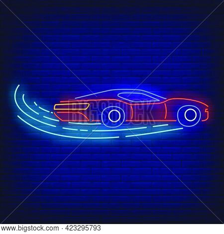 Sport Car Increasing Speed In Neon Style. Glowing Neon Automobile. Race, Competition, Motor Car. Nig