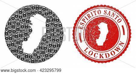Vector Mosaic Espirito Santo State Map Of Locks And Grunge Lockdown Seal Stamp. Mosaic Geographic Es