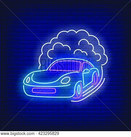 Sport Car Increasing Speed Neon Sign. Glowing Neon Automobile. Race, Competition, Motor Car. Night B