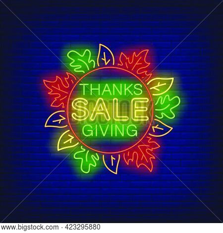 Thanksgiving Sale In Neon Style. Glowing Neon Text. Leaves, Discounts, Thanksgiving Day. Night Brigh