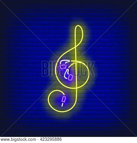 Treble Clef Made Of Earphones Cable Neon Sign. Music, Sound, Device Design. Night Bright Neon Sign,