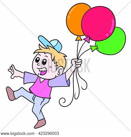 The Boy Walking With Lots Of Colorful Balloons, Vector Illustration Art. Doodle Icon Image Kawaii.