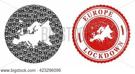 Vector Mosaic Europe Map Of Locks And Grunge Lockdown Seal. Mosaic Geographic Europe Map Designed As