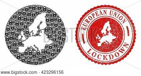Vector Mosaic European Union Map Of Locks And Grunge Lockdown Stamp. Mosaic Geographic European Unio