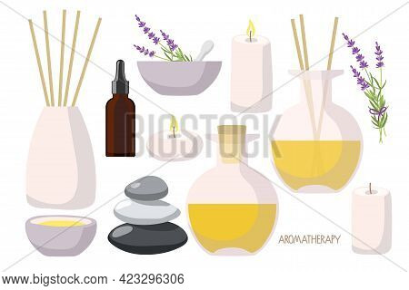 Aromatherapy With Candles Set. Aroma Diffusers, Yellow Essential Oil In Bottle, Lavender Plant, Bala