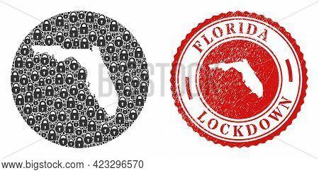 Vector Mosaic Florida State Map Of Locks And Grunge Lockdown Seal Stamp. Mosaic Geographic Florida S