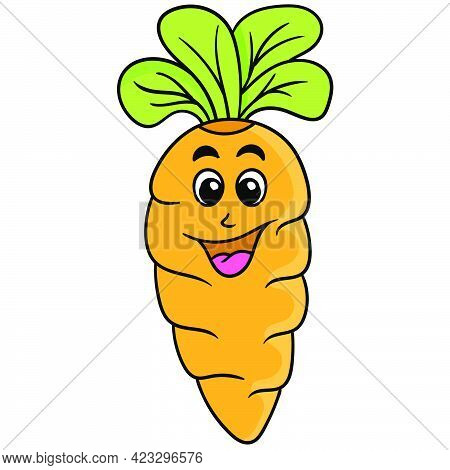 A Lush Vegetable Carrot With A Happy Smiling Face, Vector Illustration Art. Doodle Icon Image Kawaii