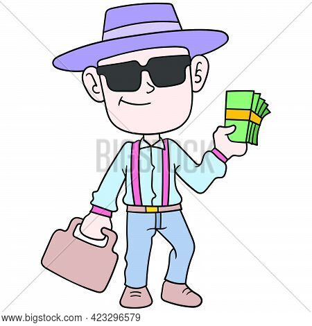 A Rich Man With A Cool Appearance Brings A Lot Of Money To Do Business, Vector Illustration Art. Doo