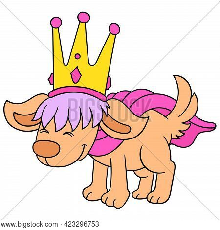 The Old Dog King Is Golden Crowned With A Wise Face, Vector Illustration Art. Doodle Icon Image Kawa