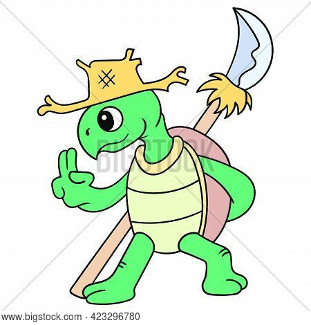 Turtle In Action Martial Style With A Sharp Spear, Vector Illustration Art. Doodle Icon Image Kawaii