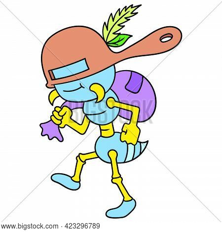 Undercover Ants Use A Pot To Mask Stealing Food, Vector Illustration Art. Doodle Icon Image Kawaii.