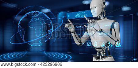 Quality Assurance Control Standard Concept. Robot Pressing Button On Screen 3d Render