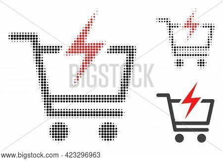 Instant Shopping Halftone Dotted Icon. Halftone Array Contains Round Dots. Vector Illustration Of In