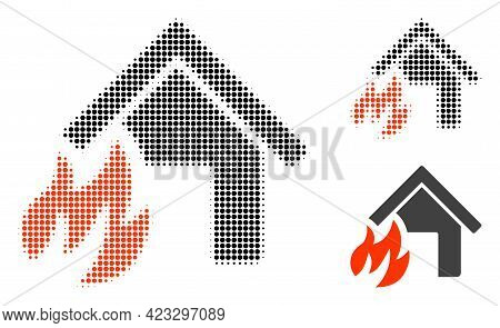 House Fire Disaster Halftone Dotted Icon. Halftone Array Contains Round Points. Vector Illustration