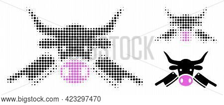 Butchery Halftone Dotted Icon. Halftone Pattern Contains Circle Elements. Vector Illustration Of But
