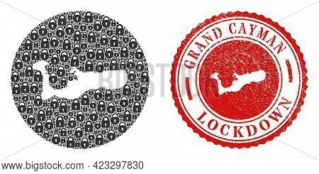 Vector Mosaic Grand Cayman Island Map Of Locks And Grunge Lockdown Seal. Mosaic Geographic Grand Cay