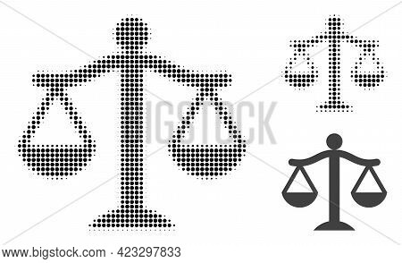 Judge Halftone Dotted Icon. Halftone Array Contains Round Dots. Vector Illustration Of Judge Icon On