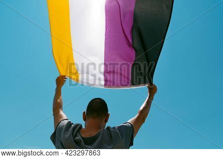 closoeup of a young caucasian person, seen from behind and below, waving a non-binary pride flag on the sky