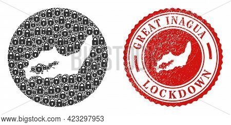 Vector Mosaic Great Inagua Island Map Of Locks And Grunge Lockdown Seal. Mosaic Geographic Great Ina