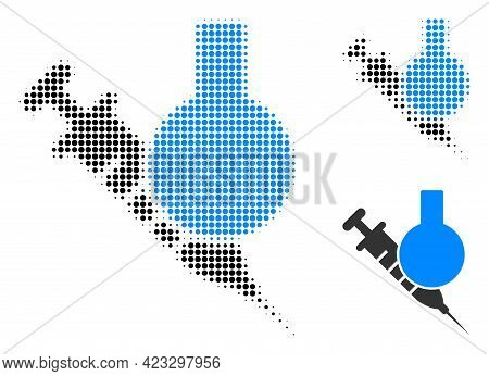 Chemical Vaccine Halftone Dotted Icon. Halftone Array Contains Round Dots. Vector Illustration Of Ch