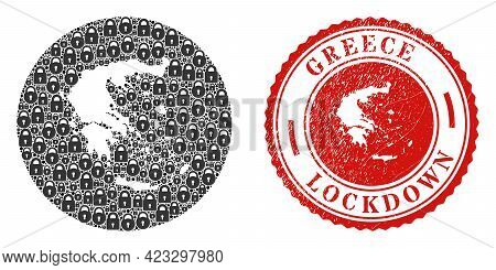 Vector Collage Greece Map Of Locks And Grunge Lockdown Seal. Mosaic Geographic Greece Map Constructe