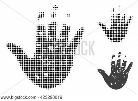 Destructed Hand Halftone Dotted Icon. Halftone Array Contains Circle Dots. Vector Illustration Of De