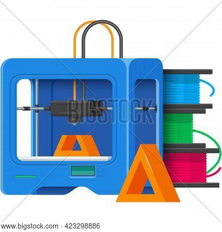 3d Printer Vector Prototype Printing Machine Illustration