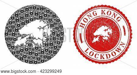 Vector Mosaic Hong Kong Map Of Locks And Grunge Lockdown Stamp. Mosaic Geographic Hong Kong Map Crea