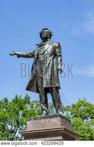 Monument To Russian Poet Alexander Pushkin On Culture Square In Saint Petersburg, Russia